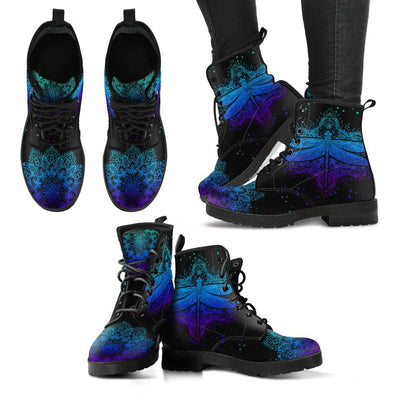 Blue and Purple Mandala Dragonfly Handcrafted Boots