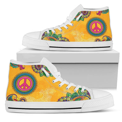 Orange Peace Handcrafted High Tops