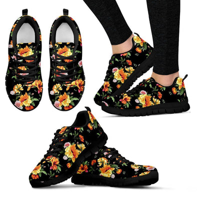 Black Flower Handcrafted Sneakers