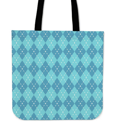 Blue Argyle Canvas Tote Bag