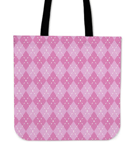 Pink Argyle Canvas Tote Bag