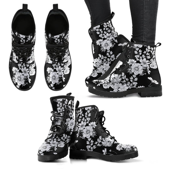 White Flowers Handcrafted Boots