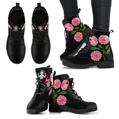 dahlia flower - Vegan Women's Boots