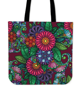 Colorful Henna Flowers Tote