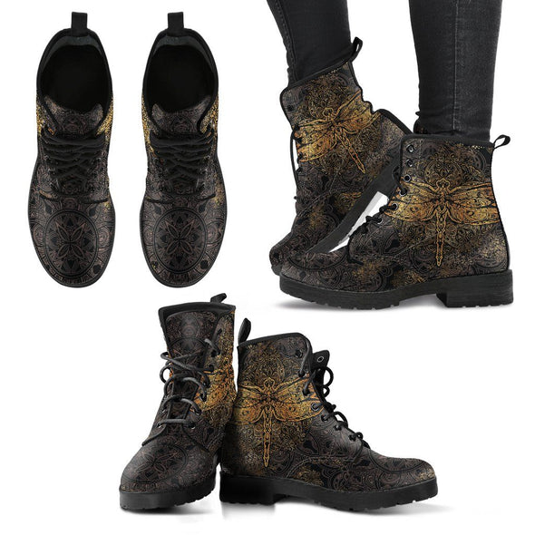 Gold Dragonfly Handcrafted Boots