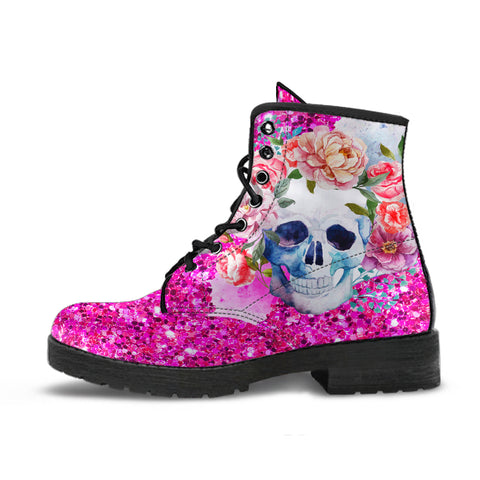 Image of Pink Glitter Skull Boots