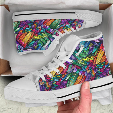 Boho Feather Design Handcrafted High Tops