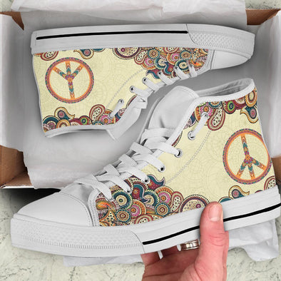 Beige Peace Handcrafted High Tops