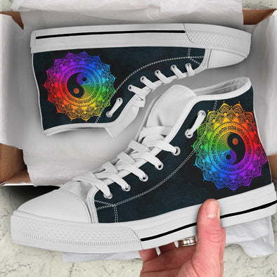Rainbow Yin Yang Mandala Handcrafted High Tops