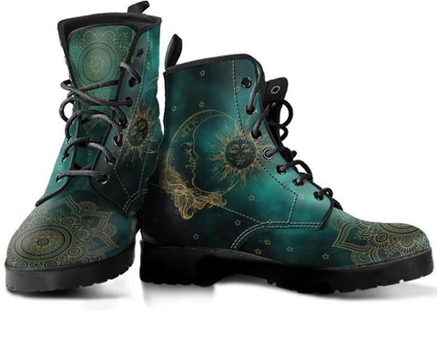 Image of Green Sun and Moon Handcrafted Boots