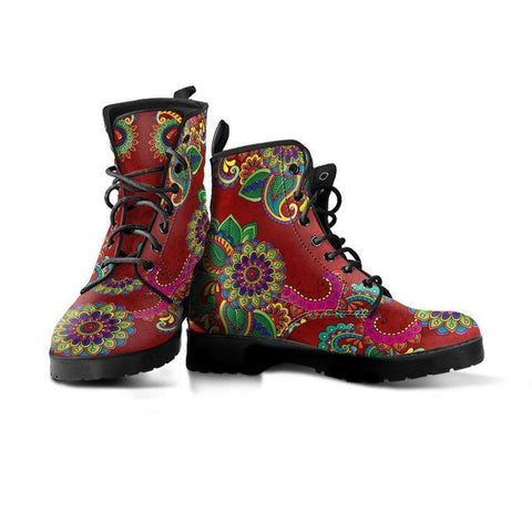 Image of Red Henna Handcrafted Boots