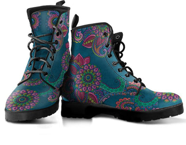 Blue Henna Mandala Handcrafted Boots