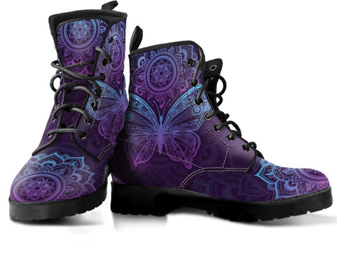 Image of Purple Butterfly Handcrafted Boots