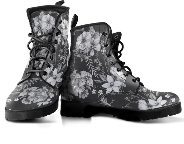 Black and White Flowers Handcrafted Boots