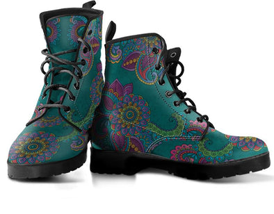 Turquoise Henna Mandala Handcrafted Boots