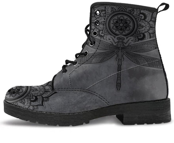 Dark Dragonfly Mandala Handcrafted Boots