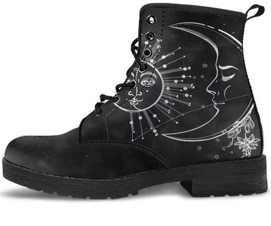 Charcoal Sun Moon Handcrafted Boots