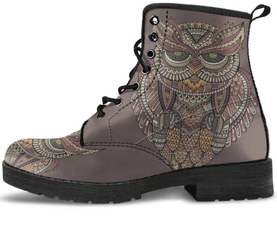 Abstract Owl Handcrafted Boots