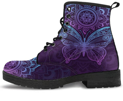 Purple Butterfly Handcrafted Boots