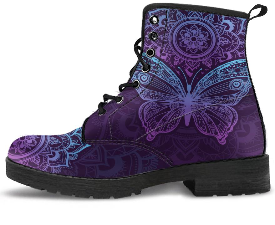 Purple Butterfly Handcrafted Boots You Shop Outlet