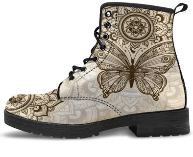 Beige Butterfly Handcrafted Boots