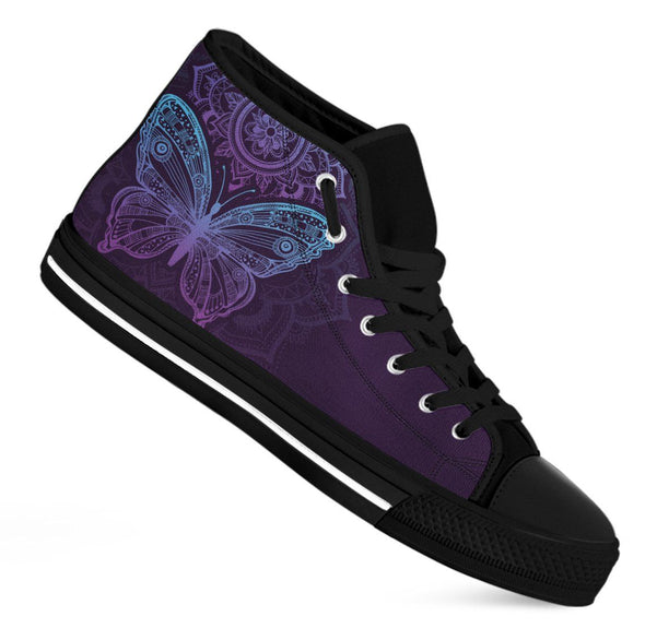 Purple Butterfly Handcrafted High Tops