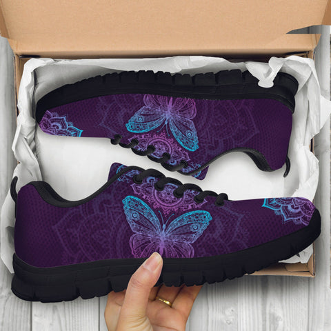 Image of Purple Butterfly Handcrafted Sneakers