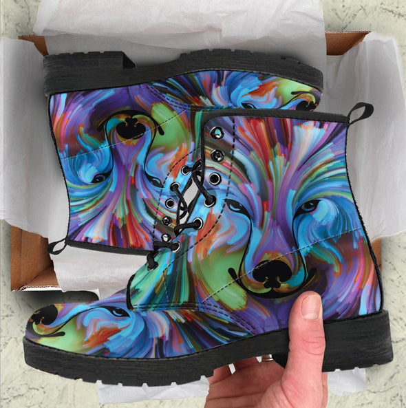 Colorful Wolf Handcrafted Boots