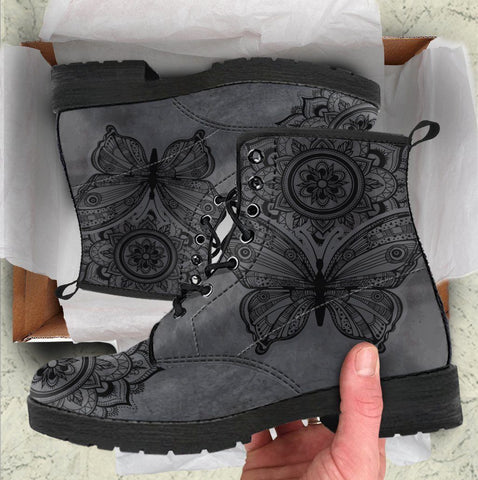 Dark Butterfly Mandala Handcrafted Boots
