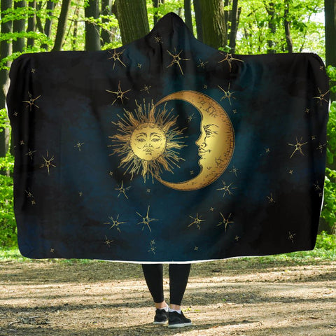 Image of Gold Sun and Moon Hoodie Blanket