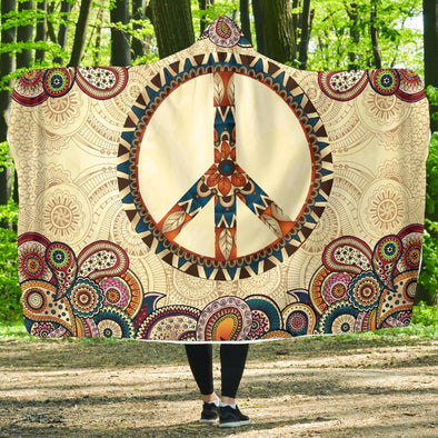 Peace and Mandala Hoodie Blanket