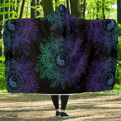Image of Purple YinYang Lotus Hoodie Blanket