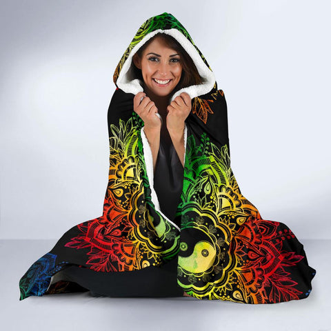 Image of Colorful YinYang Lotus Hoodie Blanket