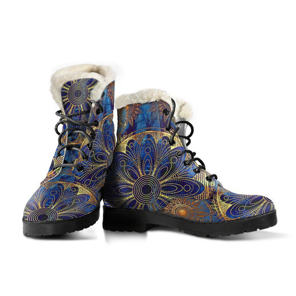 Blue And Gold Bohemian Boots