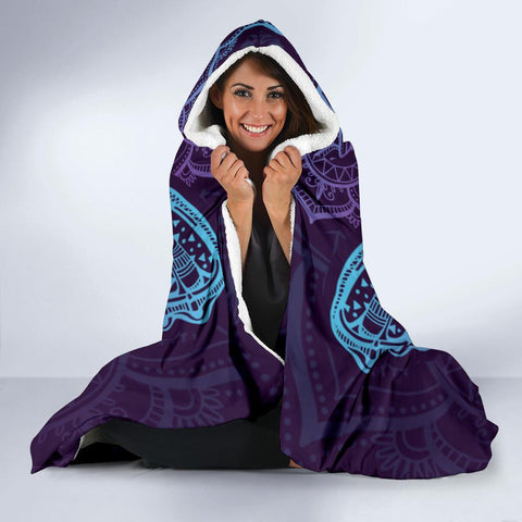 Image of Purple Butterfly Hooded Blanket