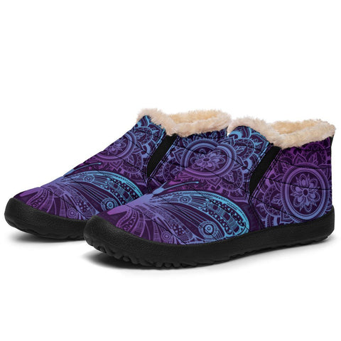 Purple Butterfly Winter Sneakers