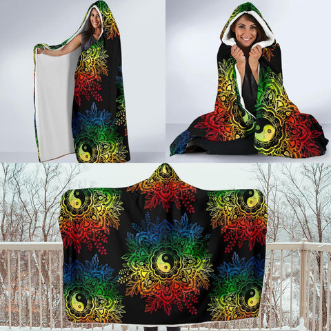 Colorful YinYang Lotus Hoodie Blanket