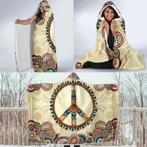 Image of Peace and Mandala Hoodie Blanket