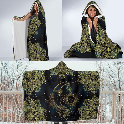 Image of Gold Sun Moon Hoodie Blanket