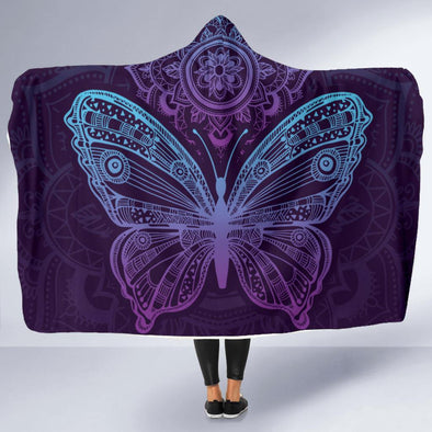 Purple Butterfly Hooded Blanket