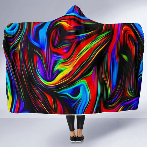 PSYCHEDELIC Art Hooded Blanket