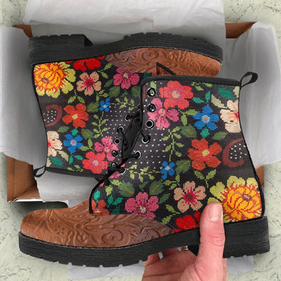 Embroidery Two Tone Boots