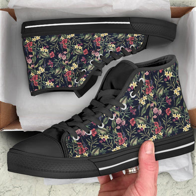 Tropical Flowers Handcrafted High Tops