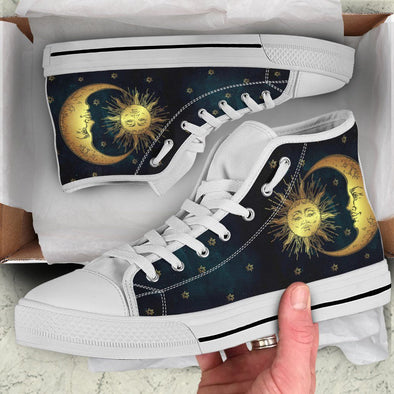 Sun Moon with Stars Handcrafted High Tops
