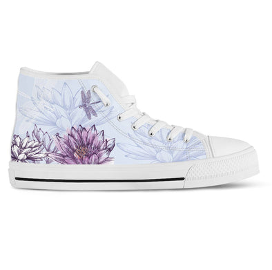 Dragonfly with Lotus Handcrafted High Tops
