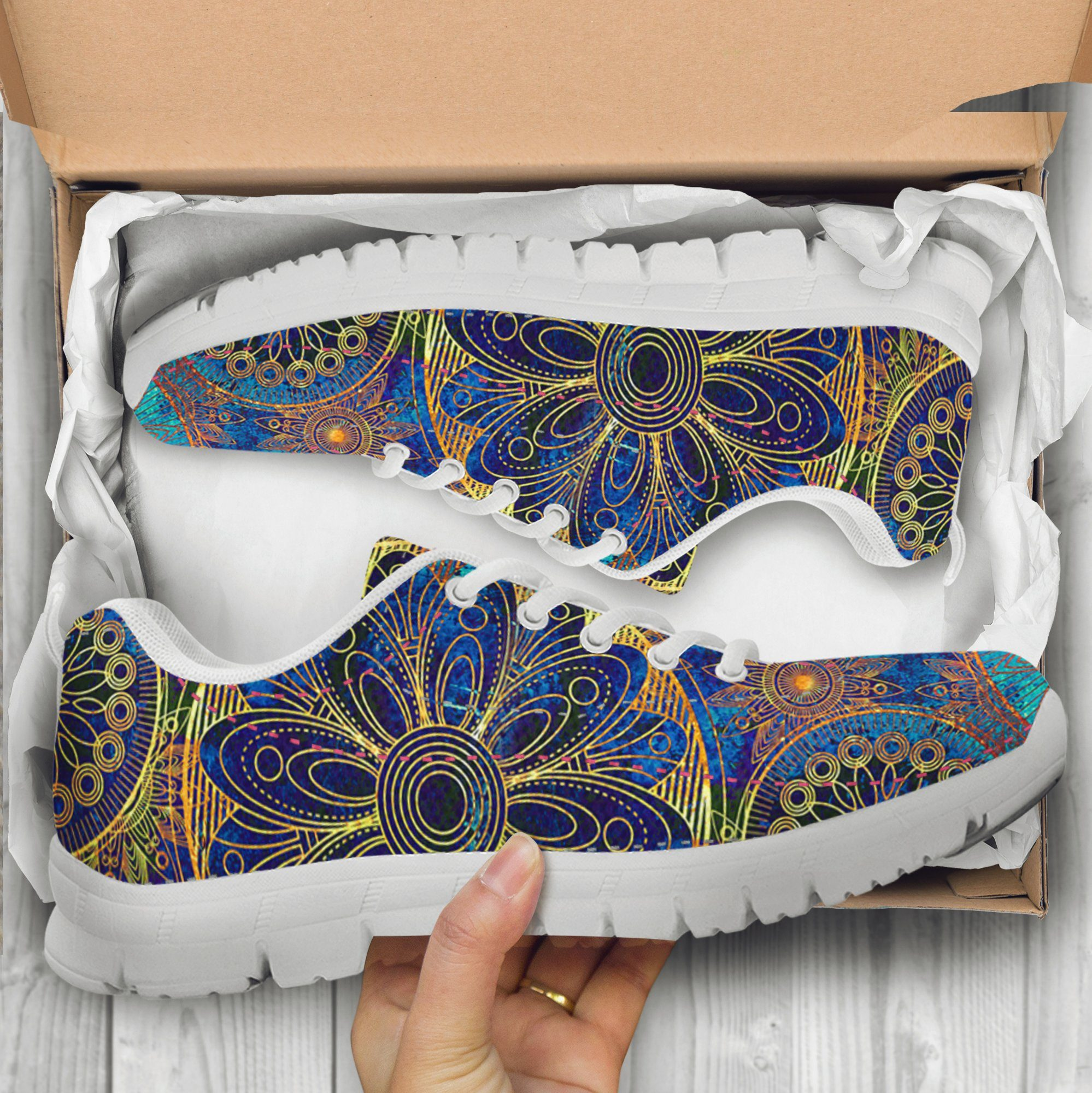 Gold Bohemian Handcrafted Sneakers
