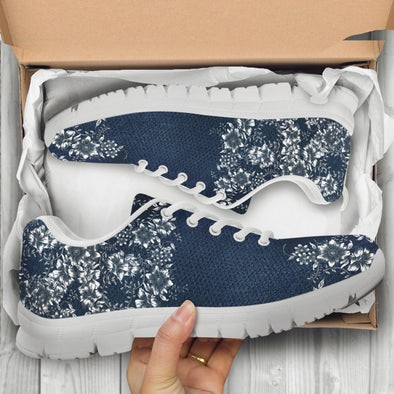 Blue Floral Handcrafted Sneakers