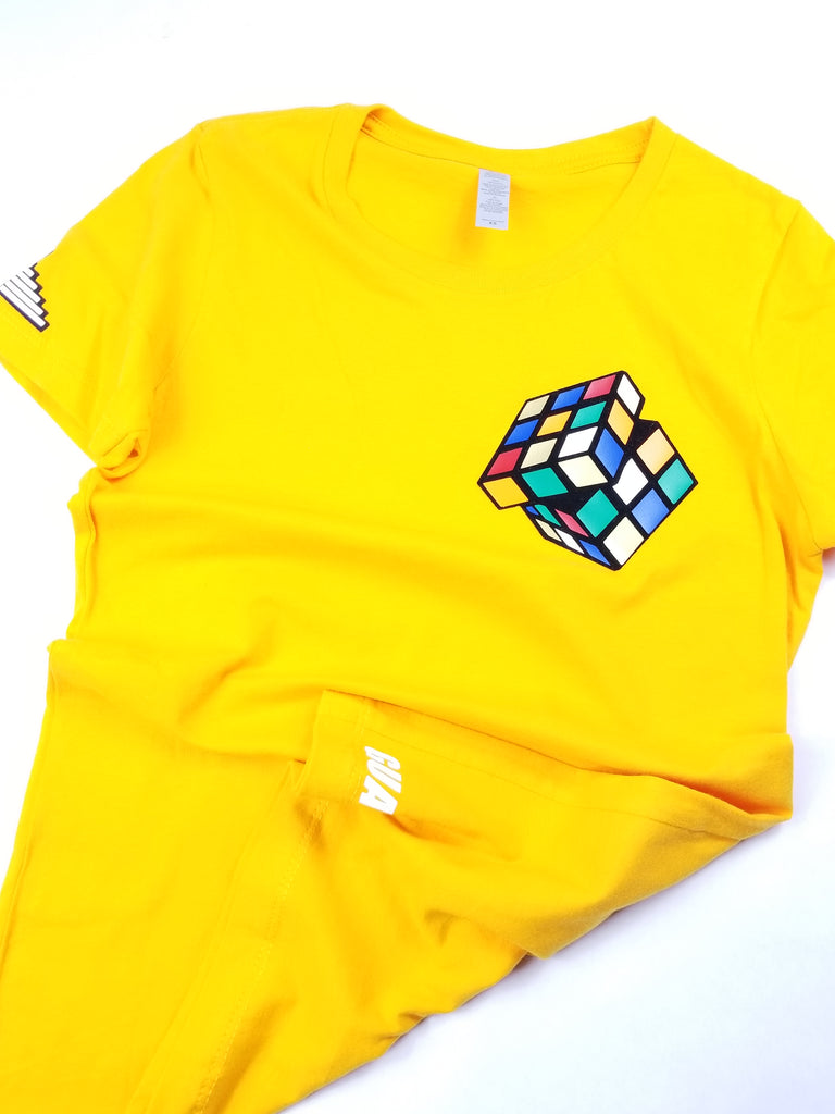"Womens ""Figure It Out"" Rubiks T - Old Gold"