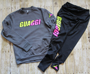 Neon Hyper Split Compression Pants - Black