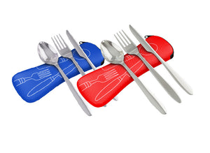 3 Piece Lightweight Stainless Steel Travel / Camping Cutlery Set and Case